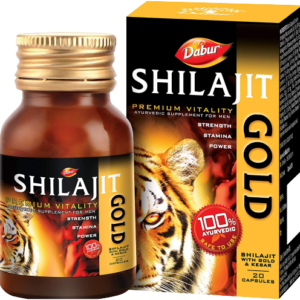 Dabur Shilajit Gold : 100 % Ayurvedic Capsules for Strength , Stamina and Power -20 capsules